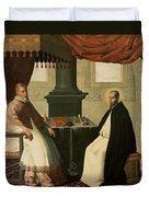 Saint Bruno And Pope Urban II Duvet Cover by Francisco de Zurbaran