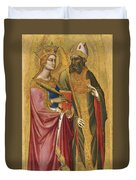 Saint Catherine And A Bishop Saint Possibly Saint Regulus Duvet Cover