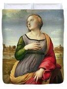 Saint Catherine Of Alexandria Duvet Cover by Raphael