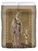 Saint Dorothy And The Infant Christ Duvet Cover