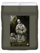 Saint Francis And Brother Leo Meditating On Death Duvet Cover