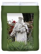Saint Francis Statue In Carmel Mission Garden Duvet Cover