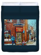 Saint Henri Street In Winter Duvet Cover
