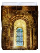 Saint Isidore - Romanesque Window With Stained Glass - Vintage Version Duvet Cover