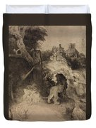 Saint Jerome In An Italian Landscape Duvet Cover