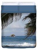 Saint Lucia Palm Tree Small Rock Caribbean Flowing Duvet Cover