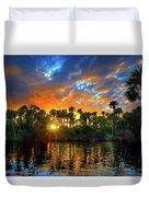 Saint Lucie River Sunset Duvet Cover