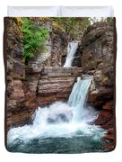 Saint Mary Falls - Glacier National Park Duvet Cover