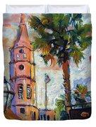 Saint Michaels Church Charleston Sc Oil Painting Duvet Cover