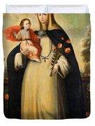 Saint Rose Of Lima With Child Jesus Duvet Cover