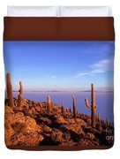 Salar De Uyuni And Cacti At Sunrise Duvet Cover