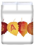 Sale Text On Fall Colors Birch Leaves Duvet Cover