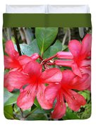 Salmon Pink In The Tropics Duvet Cover