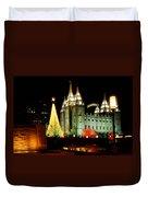Salt Lake Temple Christmas Tree Duvet Cover by La Rae  Roberts