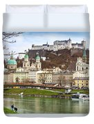 Salzburg City And Fortress  Duvet Cover