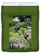 Pink Hydrangeas In Mirabell Garden Duvet Cover