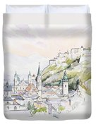 Salzburg Sunrise  Duvet Cover by Clive Metcalfe