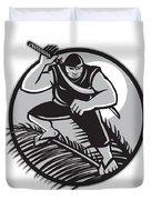 Samoan Ninja On Top Of Coconut Front Circle Duvet Cover