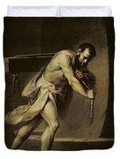 Samson In The Treadmill Duvet Cover