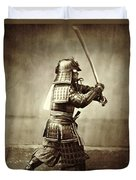 Samurai With Raised Sword Duvet Cover by F Beato