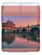 San Angelo Bridge And Castel Sant Angelo Duvet Cover