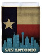 San Antonio City Skyline State Flag Of Texas Art Poster Series 022 Duvet Cover