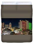 San Antonio Skyline At Christmas Duvet Cover