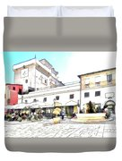 San Felice Circeo Bar And Fountain In The  Square Duvet Cover