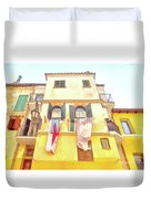 San Felice Circeo Building With The Put Clothes Duvet Cover