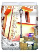 San Felice Circeo Chairs And Street Lamp Duvet Cover