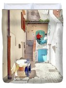 San Felice Circeo Man Puts On Clothes Duvet Cover