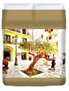 San Felice Circeo Olive Tree In The Square Duvet Cover
