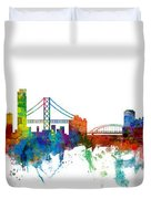 San Francisco And Pittsburgh Skylines Mashup Duvet Cover