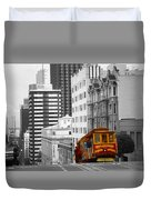 San Francisco - Red Cable Car Duvet Cover