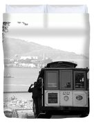 San Francisco Cable Car With Alcatraz Duvet Cover