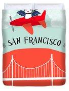 San Francisco California Vertical Scene - Bird In Plane Over San Francisco Duvet Cover