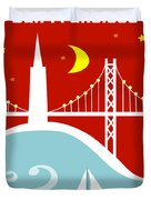 San Francisco California Vertical Scene - East Bay Bridge And Boat Duvet Cover