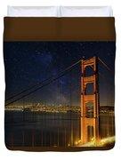 San Francisco City Skyline Through Golden Gate Bridge Duvet Cover
