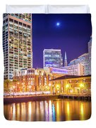 San Francisco Downtown City Skyline At Night Duvet Cover