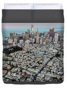 San Francisco Skyline And Coit Tower Duvet Cover