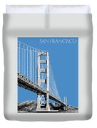 San Francisco Skyline Golden Gate Bridge 2 - Slate Blue Duvet Cover