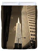 San Francisco - Transamerica Pyramid Sepia Duvet Cover