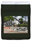 San Luis Mission Fountain Duvet Cover