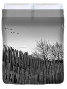 Dune Fences - Grayscale Duvet Cover