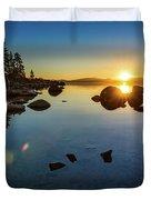 Sand Harbor Sunset Duvet Cover