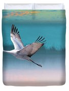 Sandhill Crane And Misty Marshes Duvet Cover