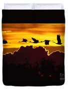 Sandhill Crane At Sunset Duvet Cover