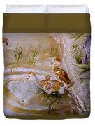 Sandhill Cranes Chicks First Bath Duvet Cover