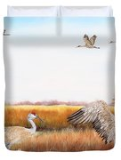 Sandhill Cranes-jp3159 Duvet Cover