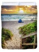 Sandy Walk Down To The Beach Duvet Cover